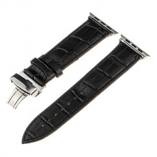Black Calf Genuine Leather Watchband Butterfly Clasp for iWatch Apple Watch