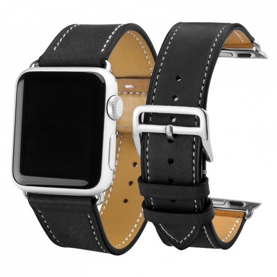 Black Carouse Leather Watchband for Apple Watch Band Series