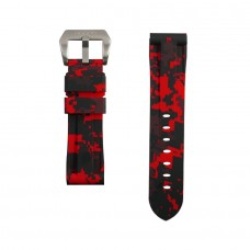 Red Digital Camouflage Rubber Tudor Strap