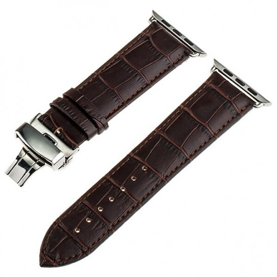 Dark Brown Calf Genuine Leather Watchband Butterfly Clasp for iWatch Apple Watch