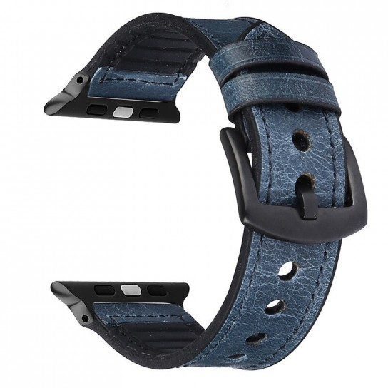 Blue Leather Silicone Band for apple watch