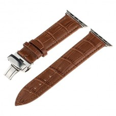 Light Brown Calf Genuine Leather Watchband Butterfly Clasp for iWatch Apple Watch
