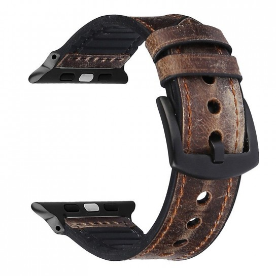 Brown Leather Silicone Band for apple watch
