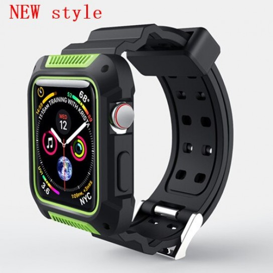 New green case+strap For Apple Watch band apple watch 4 3 band