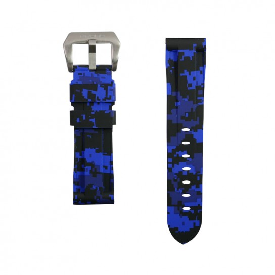 Blue Digital Camouflage Rubber Tudor Strap
