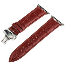 Red Calf Genuine Leather Watchband Butterfly Clasp for iWatch Apple Watch