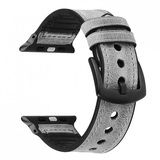 Grey Leather Silicone Band for apple watch