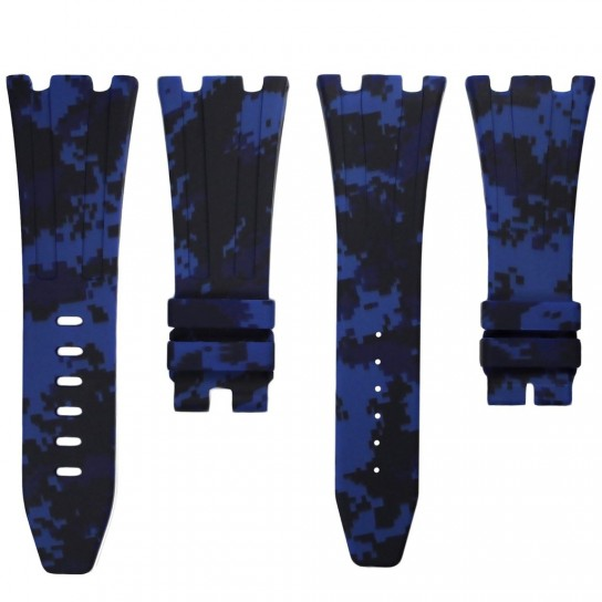 Blue Digital Camouflage Rubber Audemars Piguet 42mm Strap