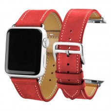 Red Carouse Leather Watchband for Apple Watch Band Series