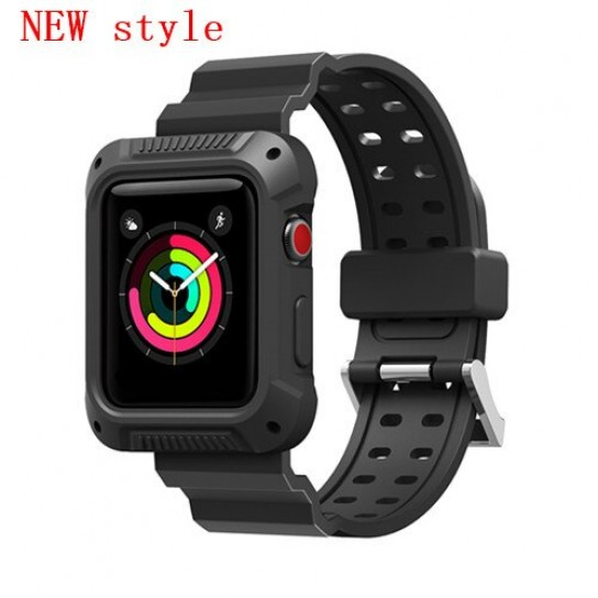 New black case+strap For Apple Watch band apple watch 4 3 band