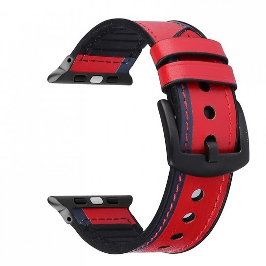 Red Leather Silicone Band for apple watch