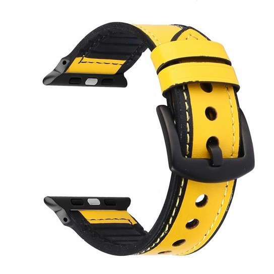YELLOW Leather Silicone Band for apple watch