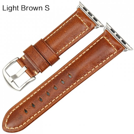 Light Brown S  MAIKES huile cire cuir Bracelet pour Apple Bracelet de montre 42mm 38mm/44mm 40mm série 4 3 2 pour Apple montre Bracelet iWatch Bracelet