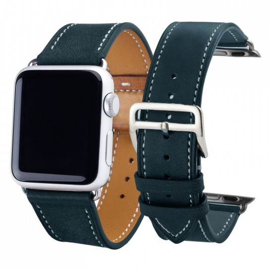 Dark Green Carouse  Leather Watchband for Apple Watch Band Series