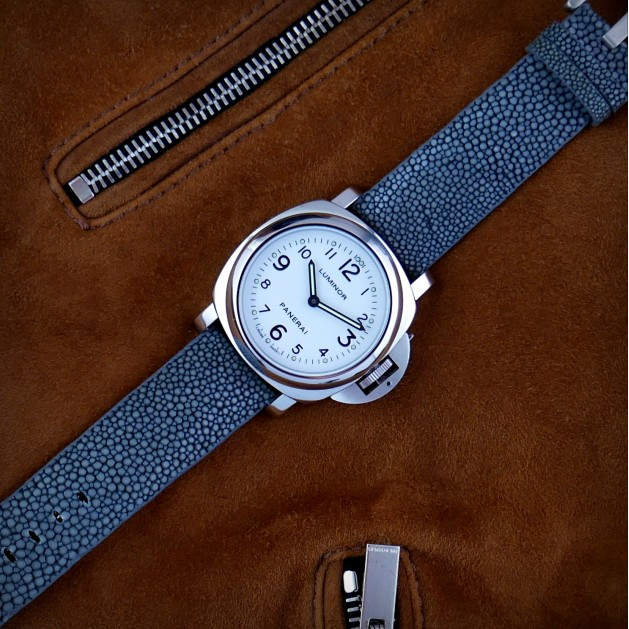 Grey Genuine Stingray Strap in Size 24mm