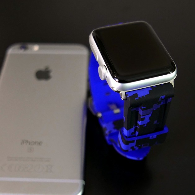 Blue Digital Camouflage Apple Watch Strap