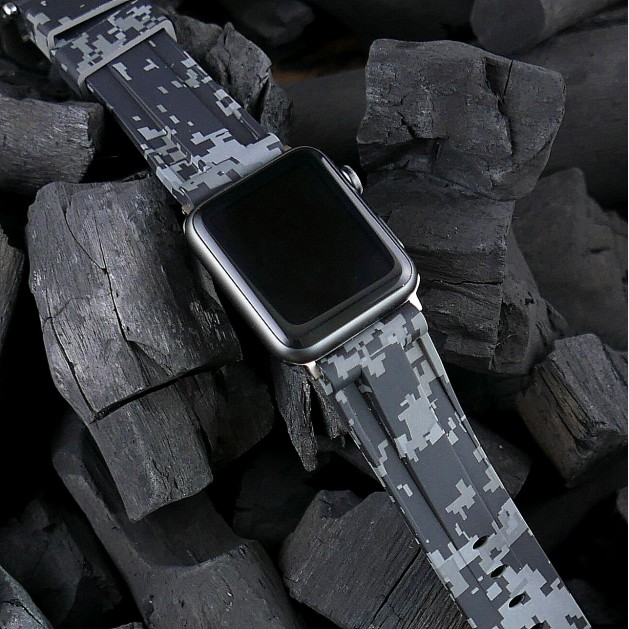 Grey Digital Camouflage Apple Watch Strap