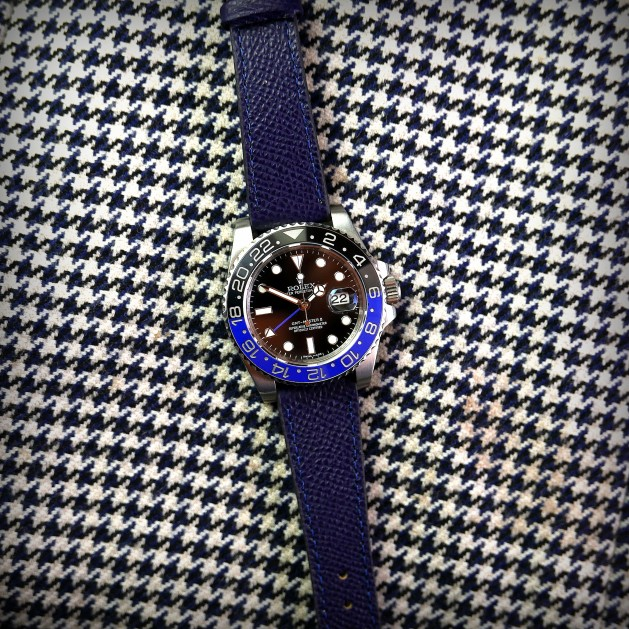 Grained Calf Blue Watch Strap