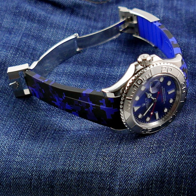 Blue Digital Camouflage Krono Straps for Rolex Yachtmaster