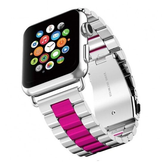 Silver wine red EIMO Stainless Steel Band For apple watch band Strap