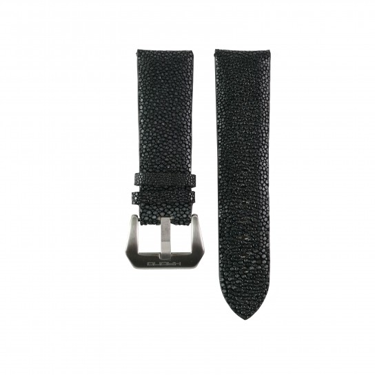Black Genuine Stingray Strap in Size 24mm
