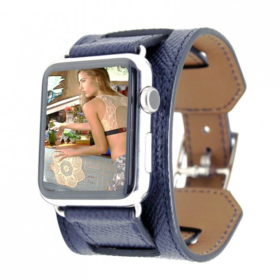 Dark Blue Luxury Classic Cuff Bracelet Belt for Apple Watch